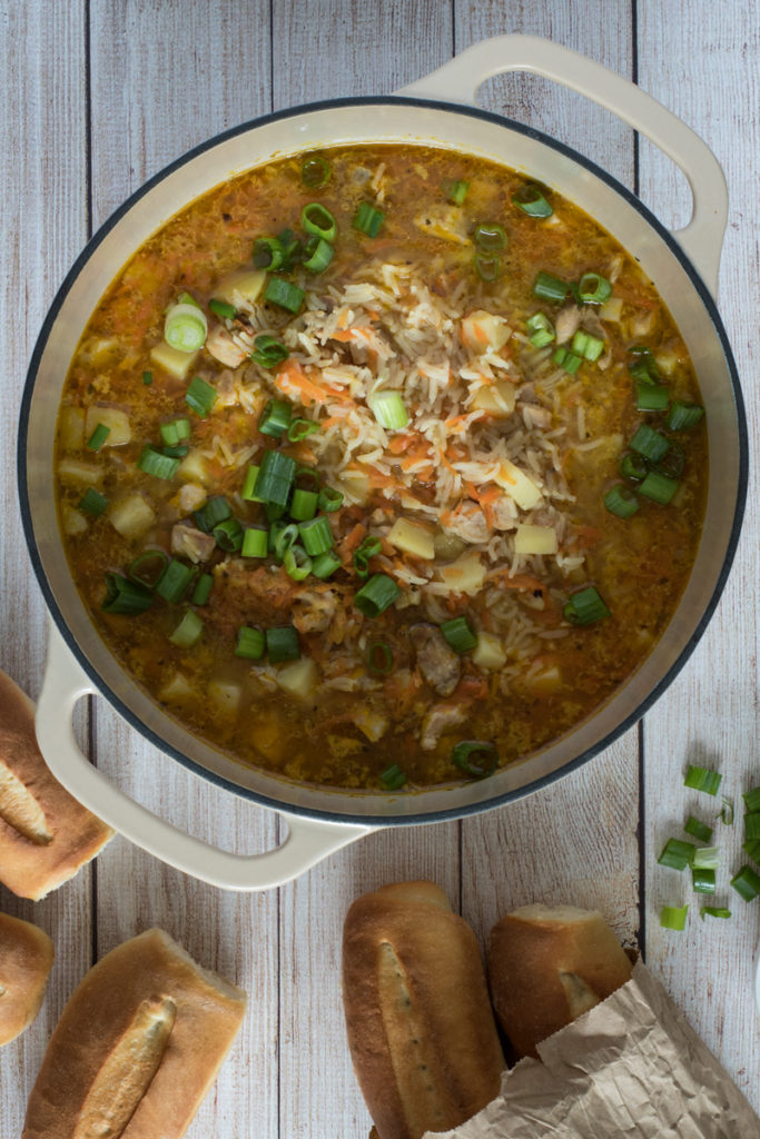 Flat photo of chicken and rice soup