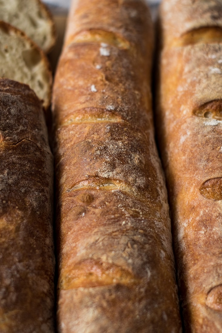 Homemade baguettes seen from above.