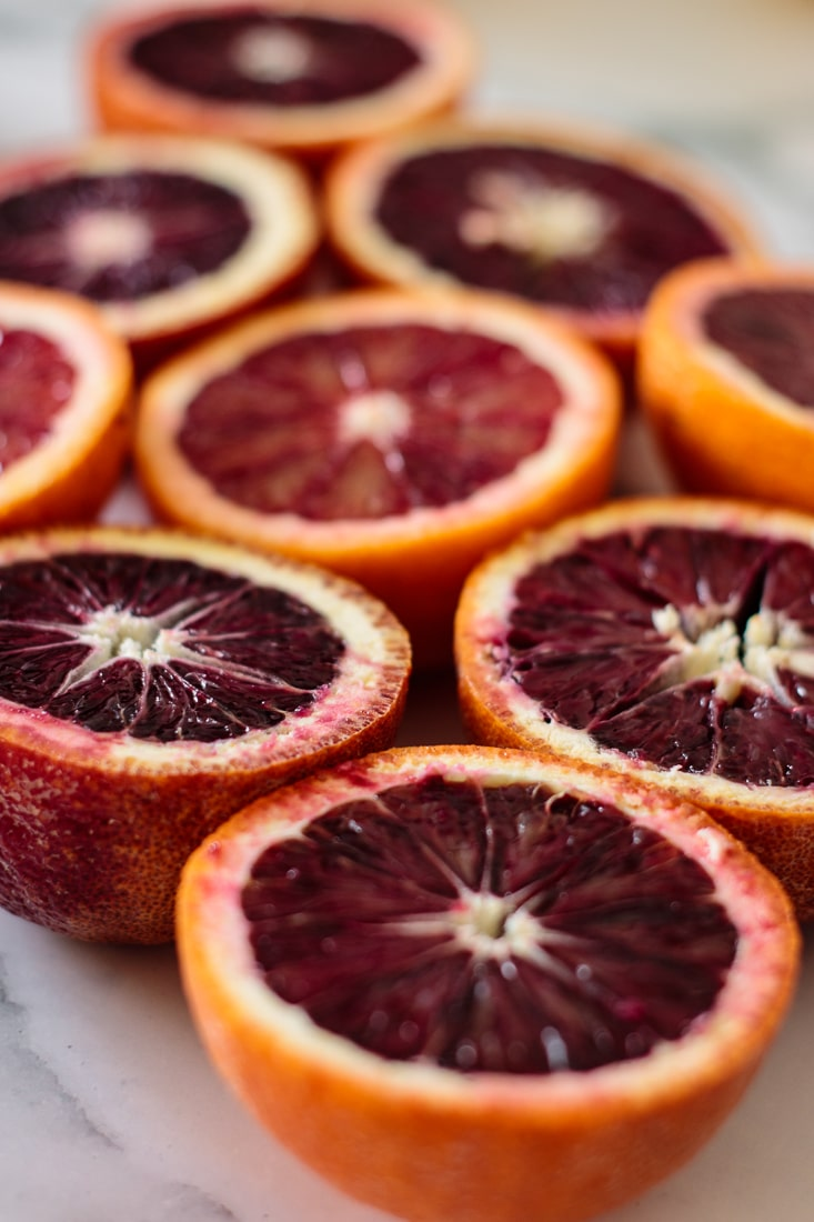 blood oranges halves
