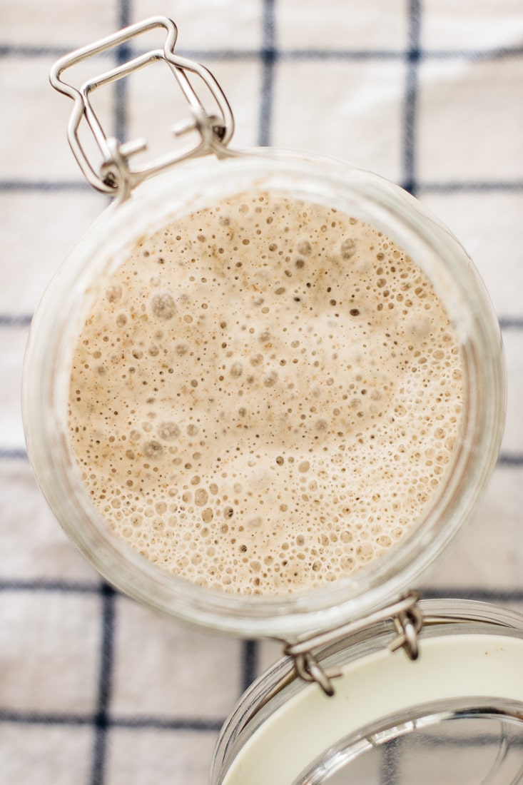 sourdough starter super active made of rye flour and whole wheat flour