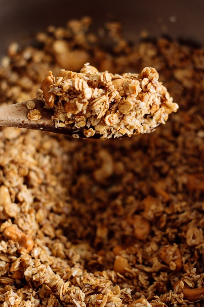 granola ingredients mixed