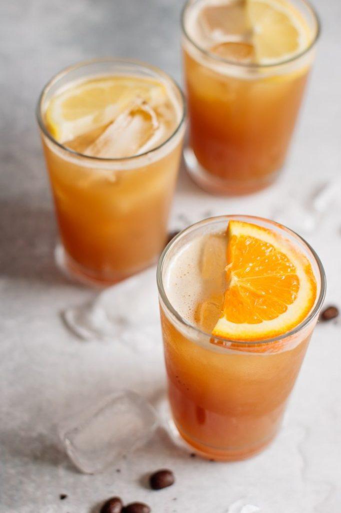three glasses full of coffee lemonade