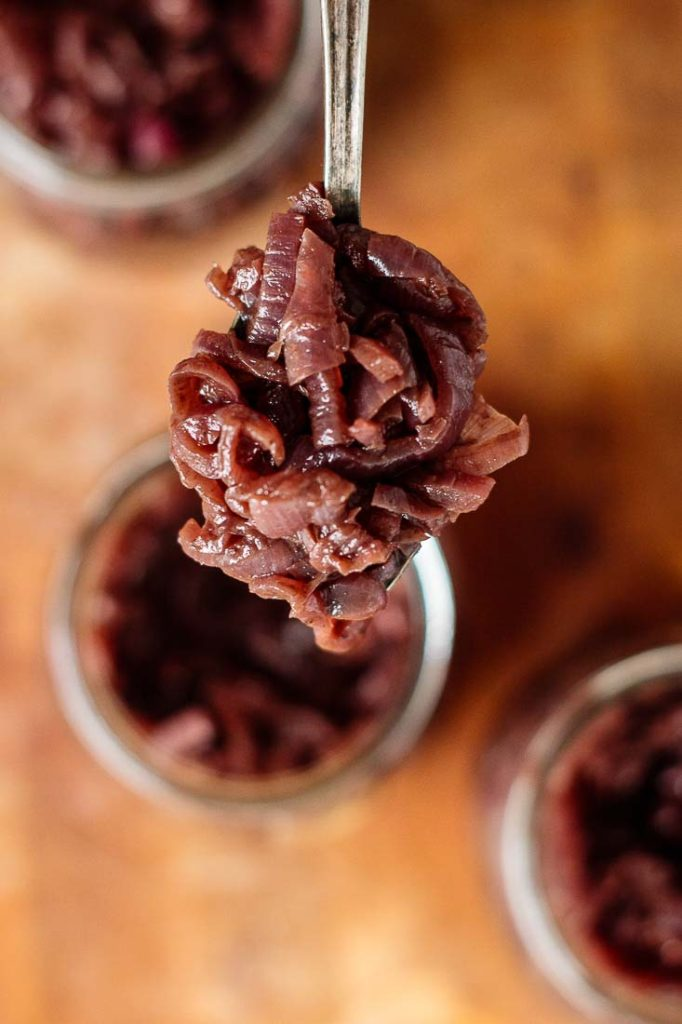 a spoon full of red onion chutney