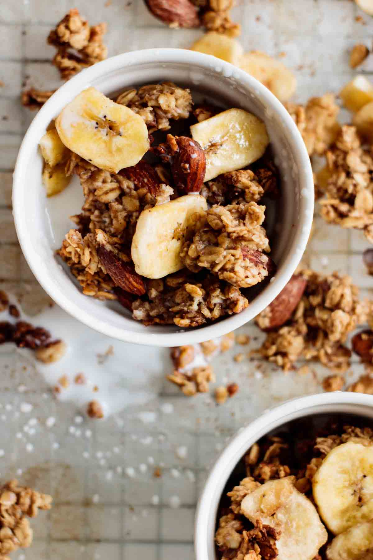 granola with milk in a bowl