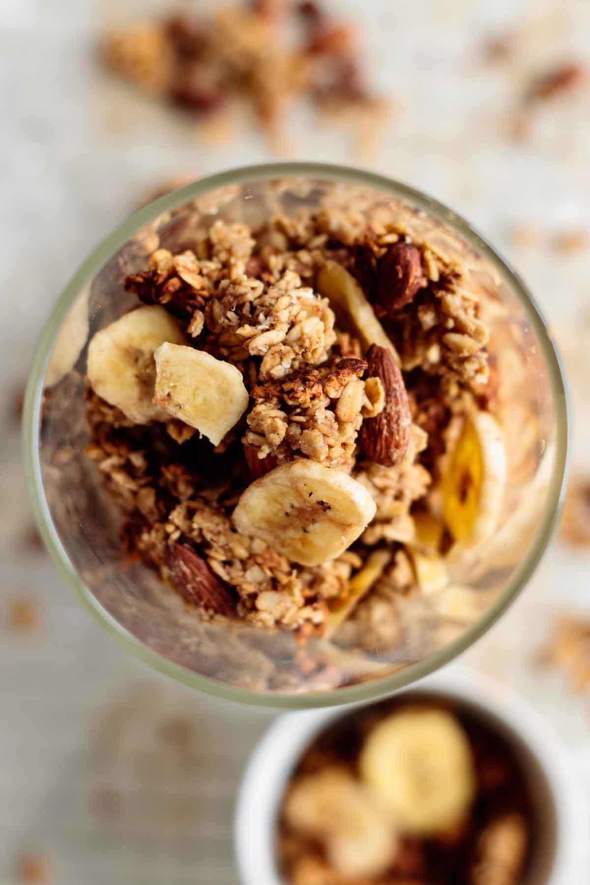 banana bread granola inside a glass jar