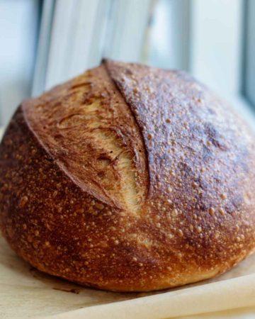 bread loaf resting after baked