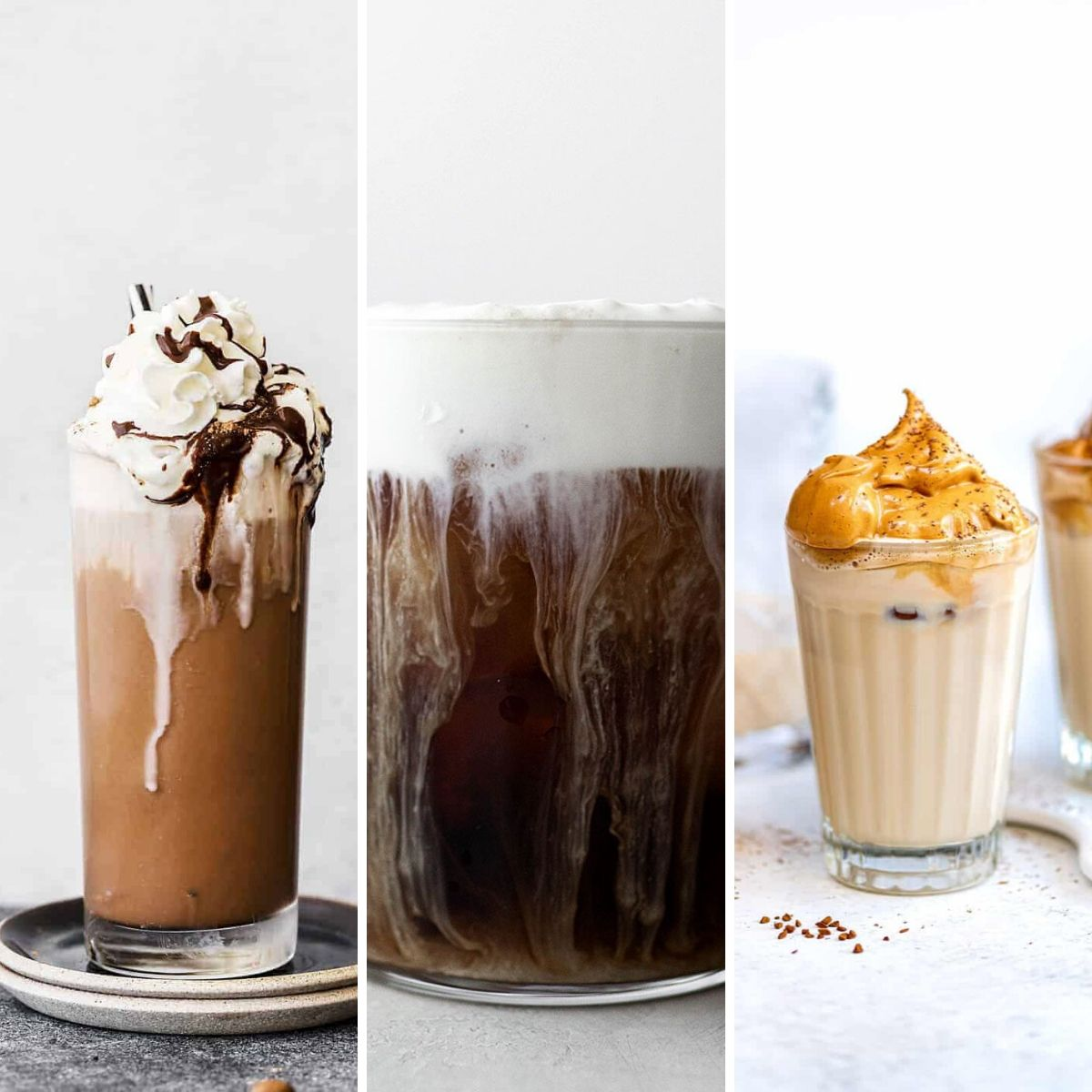 three cold coffees for the summer