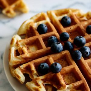 fluffy waffles ready to be consumed