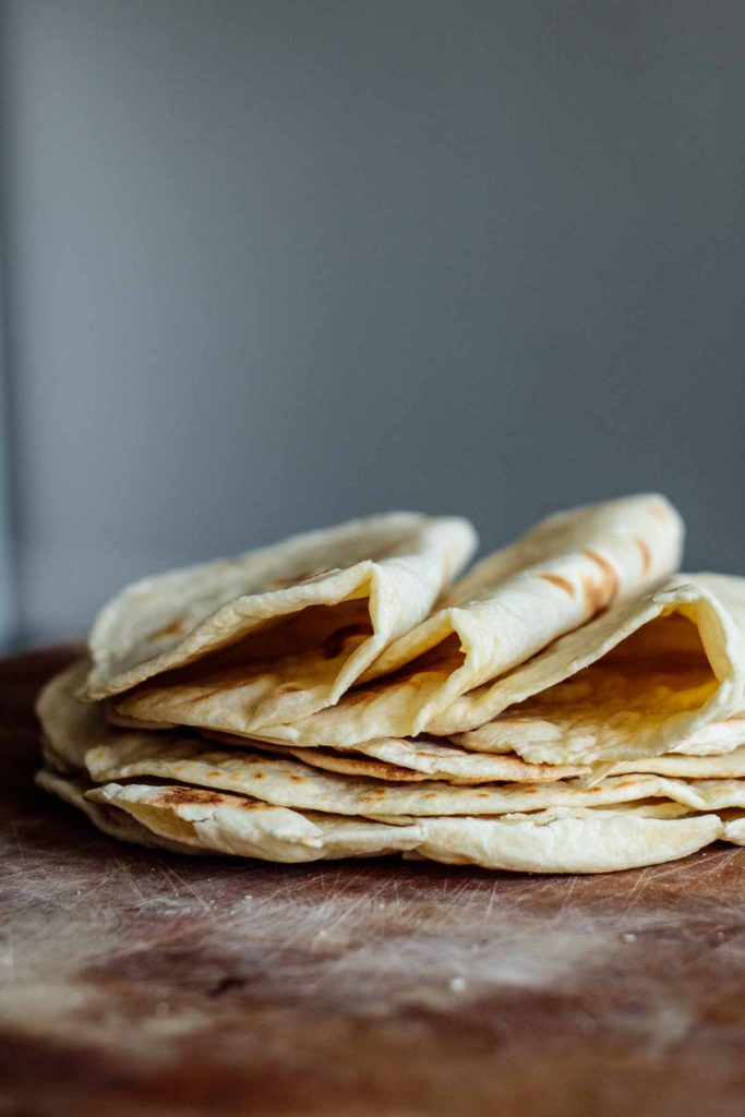 close up on stack of tortillas