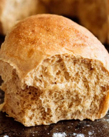 close up on whole wheat roll