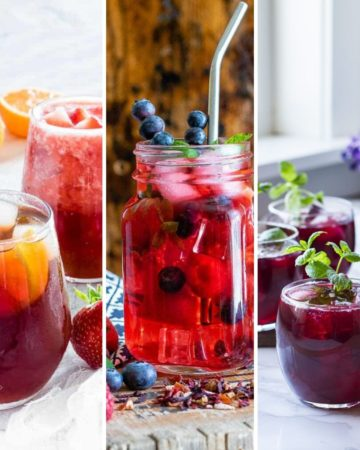 photos of 3 different caffeine-free iced tea for summer