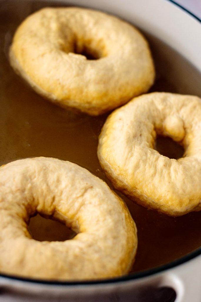 pumpkin bagels boiling