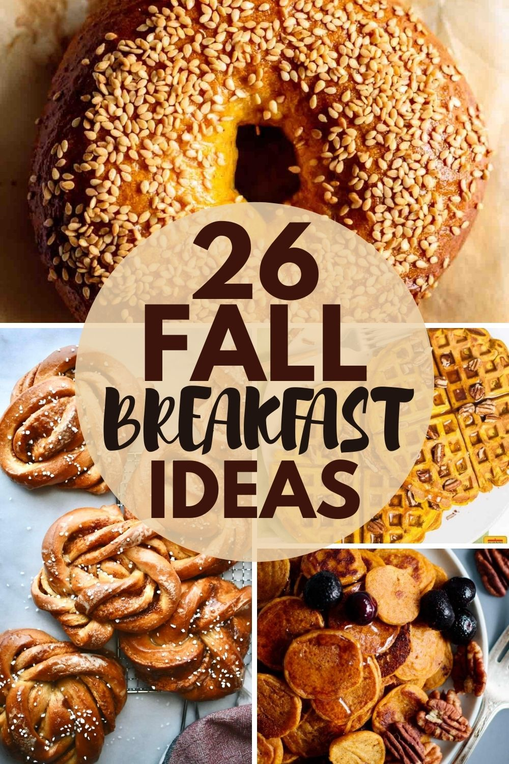 pin image of the round up, showing different fall breakfast ideas