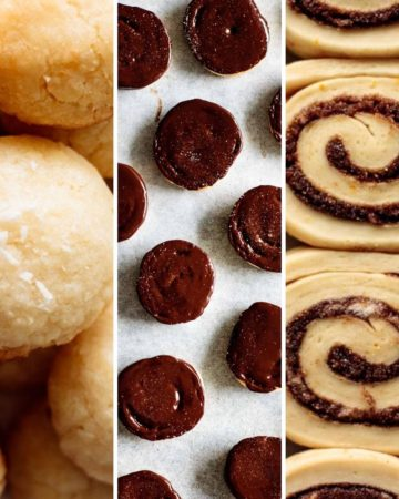 collage of coconut cookies, butter cookies and cinnamon rolls for baking tips post