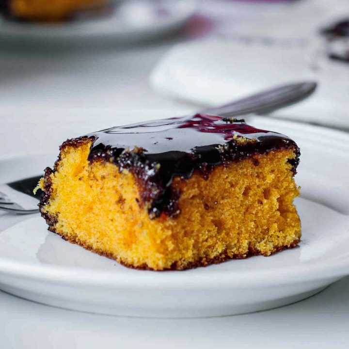slice of brazilian carrot cake with chocolate icing