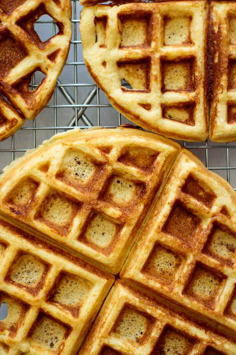 just cooked waffles cooling on rack