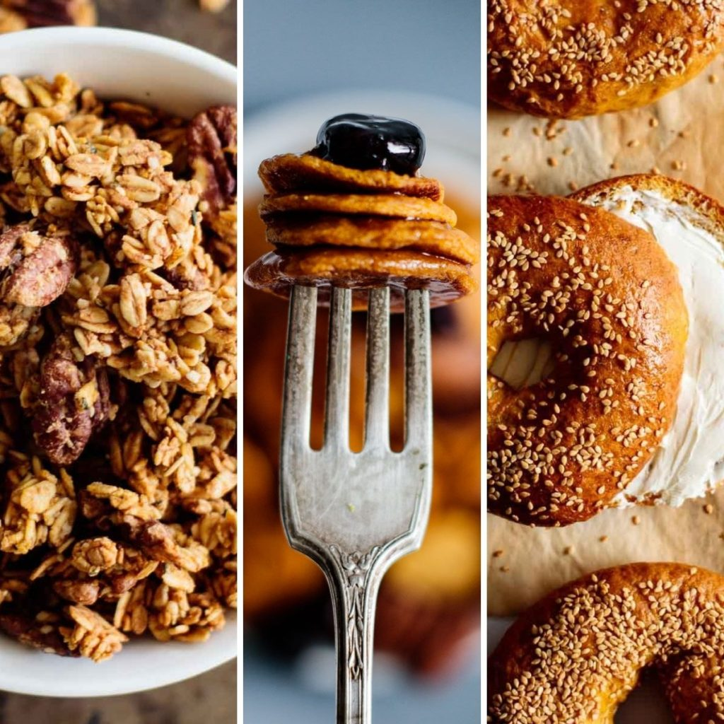 three fall breakfast options: pumpkin bagels, pumpkin pancakes and pumpkin granola