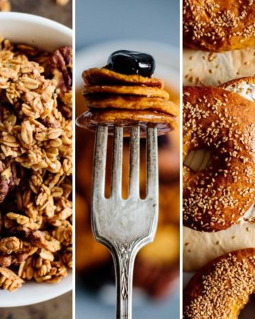 three fall breakfast options: pumpkin bagels, pumpkin pancakes and pumpkin granola