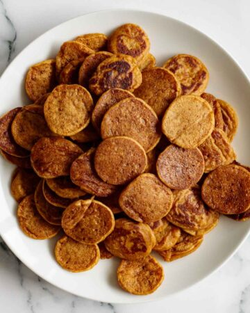 plate with sourdough cereal pancakes