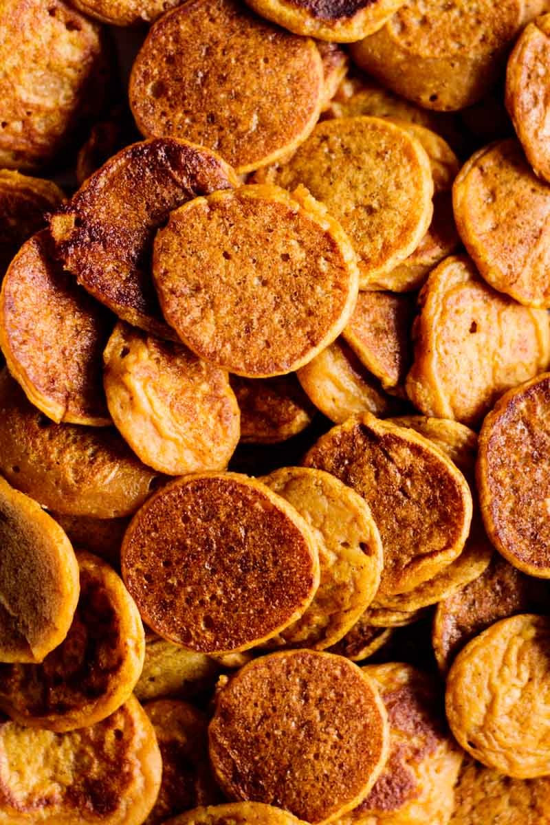 close up on a bowl full of sourdough pumpkin pancake cereal