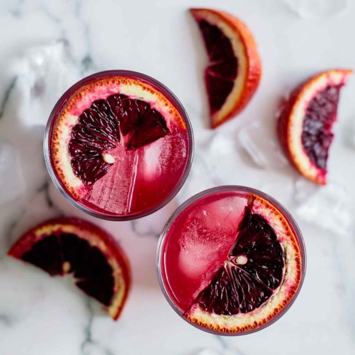 2 cups of blood orange lemonade, with blood orange slices garnishing