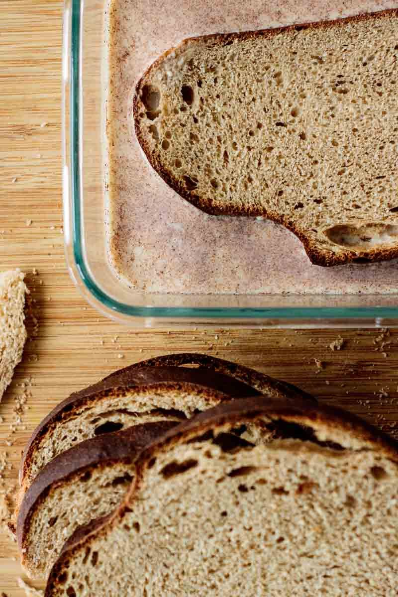 sourdough bread slices soaking on batter