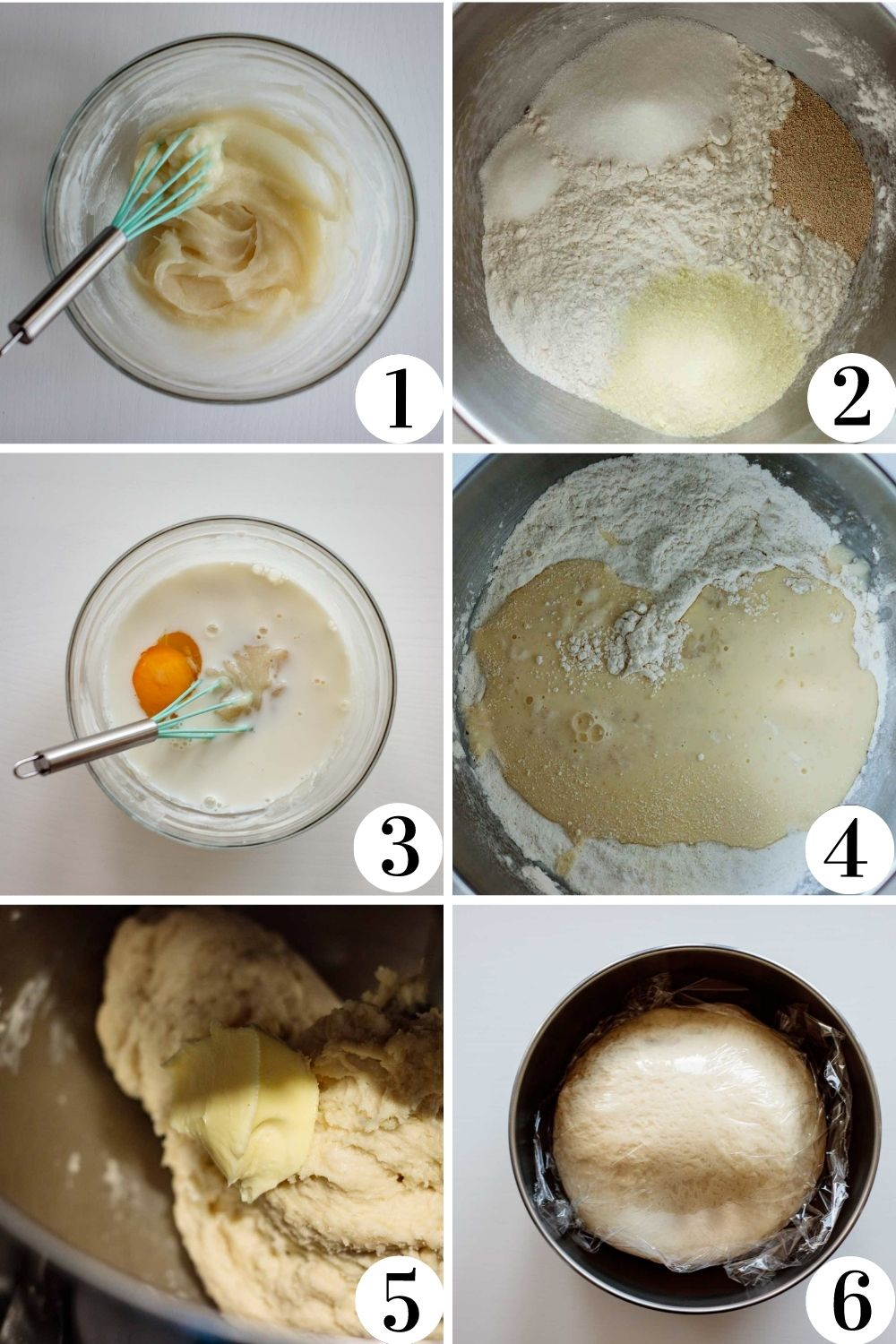 first step by step collage of this shokupan recipe