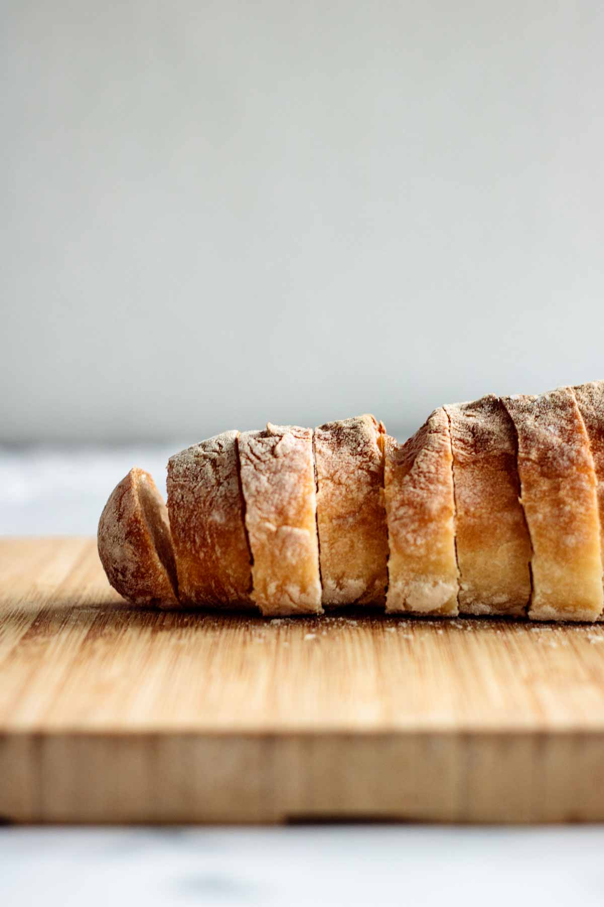 A baguette bread, sliced.