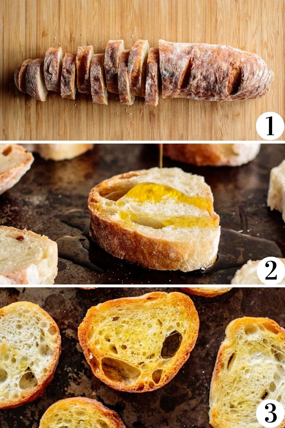 Collage of how to make crostini, step by step.