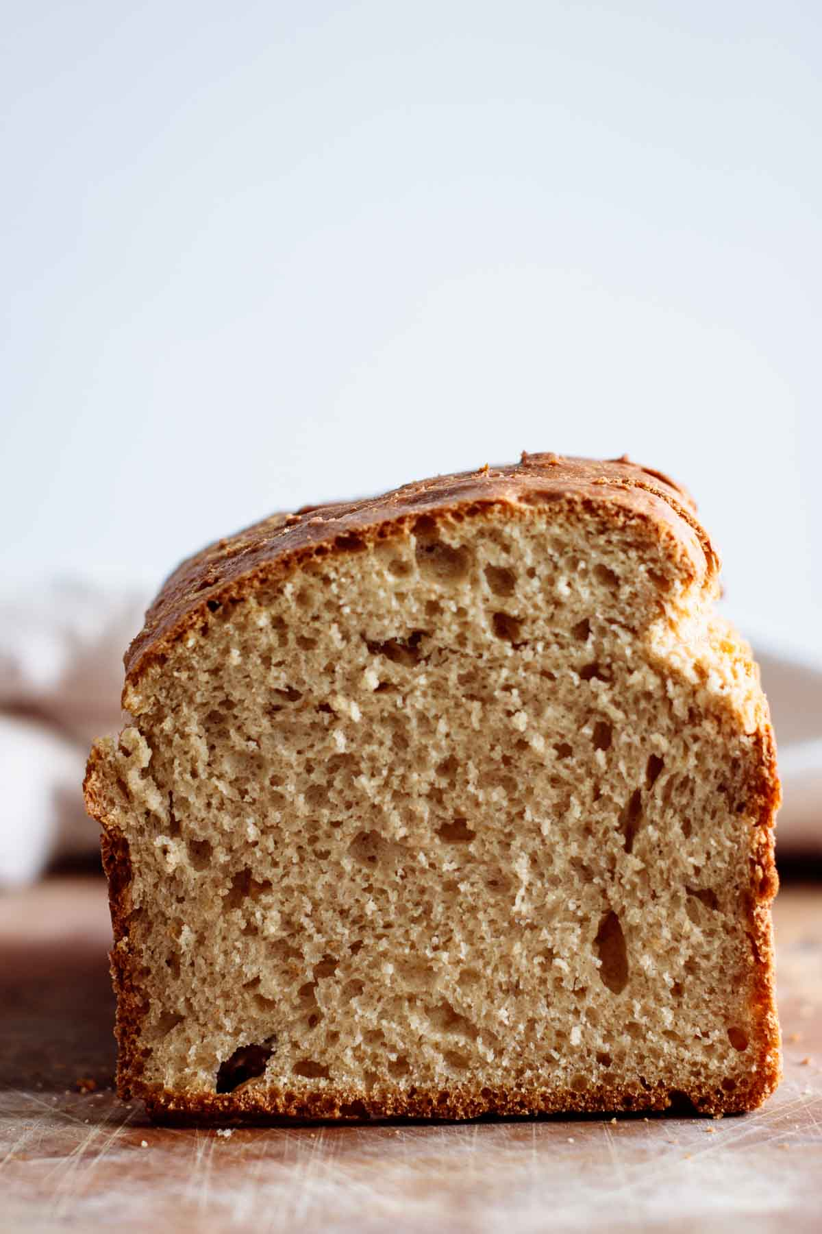 close up on sandwich bread crumb