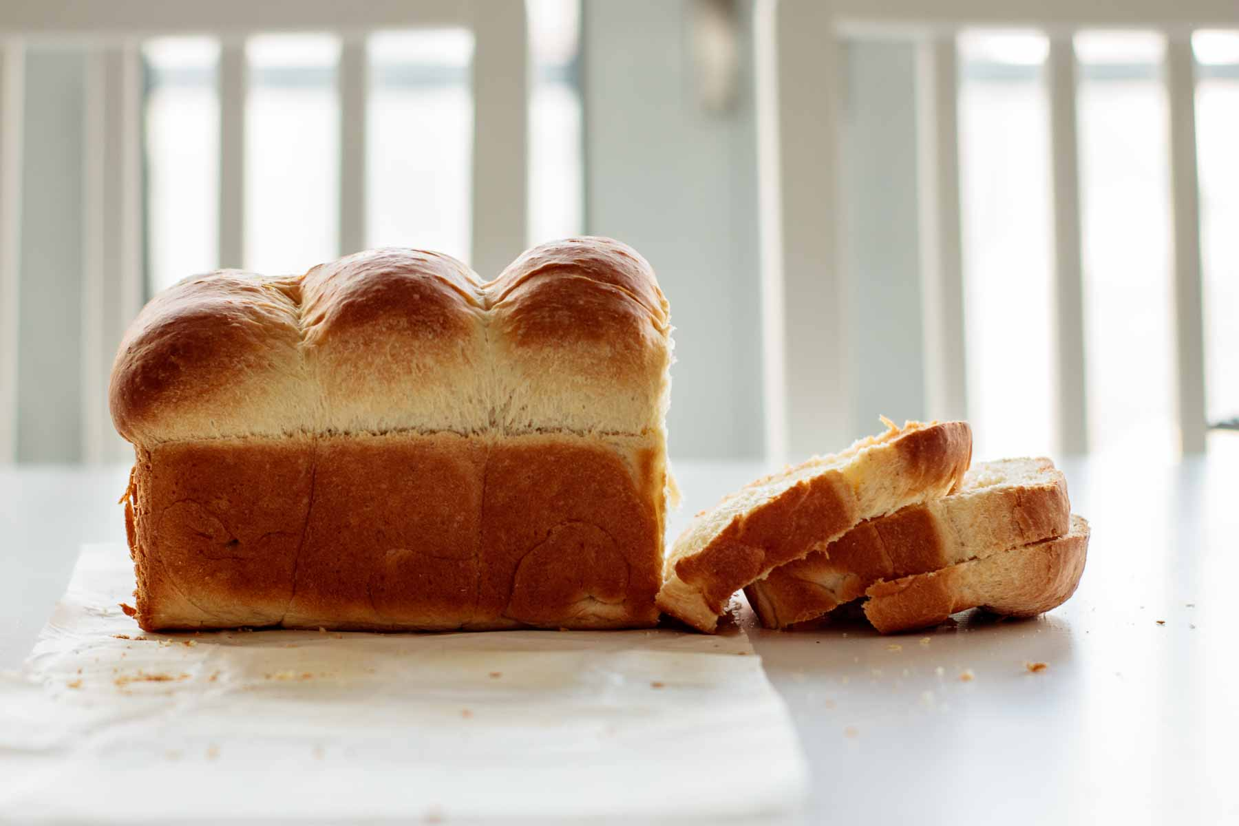3 slices of japanese milk bread and the loaf