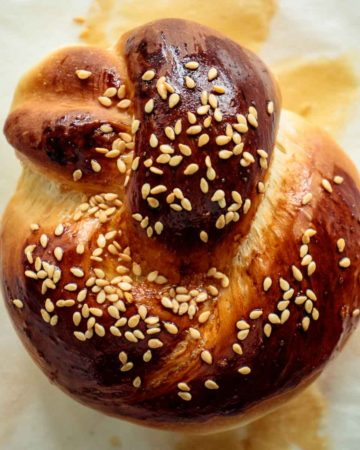 close up of a challah roll, just baked