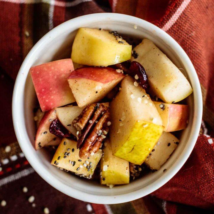 close up on fall fruit salad