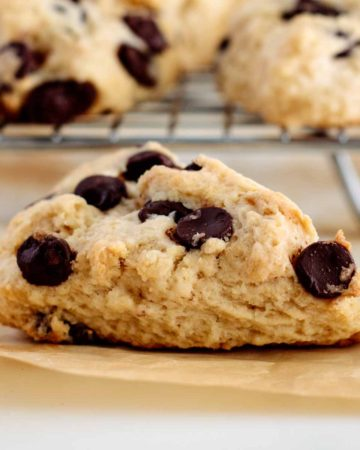 chocolate chip cookie scone close up