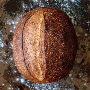 beginner sourdough bread recipe, baked