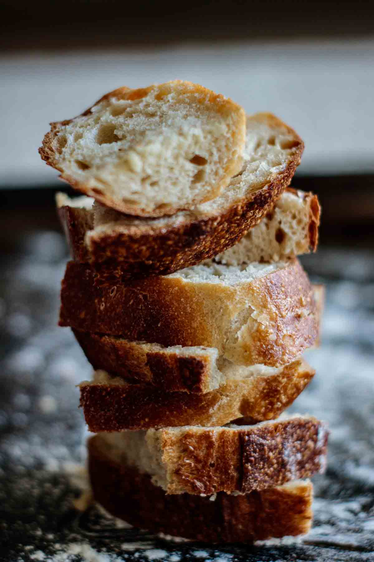 tower of bread slices