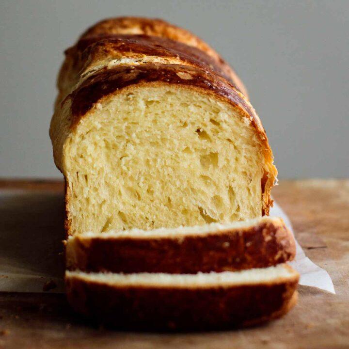 sourdough brioche bread sliced, showing its crumb soft interior