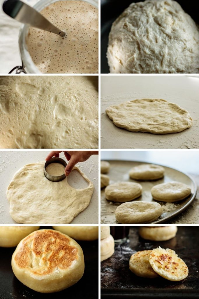 step by step collage of how to make sourdough english muffins