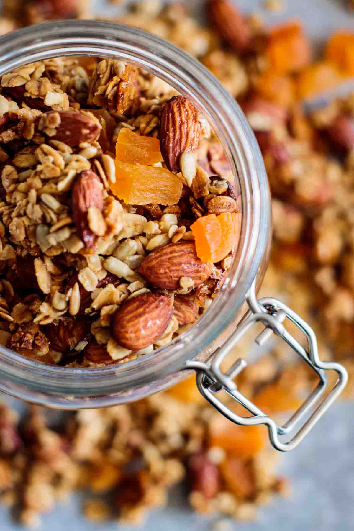 an airtight jar full of granola