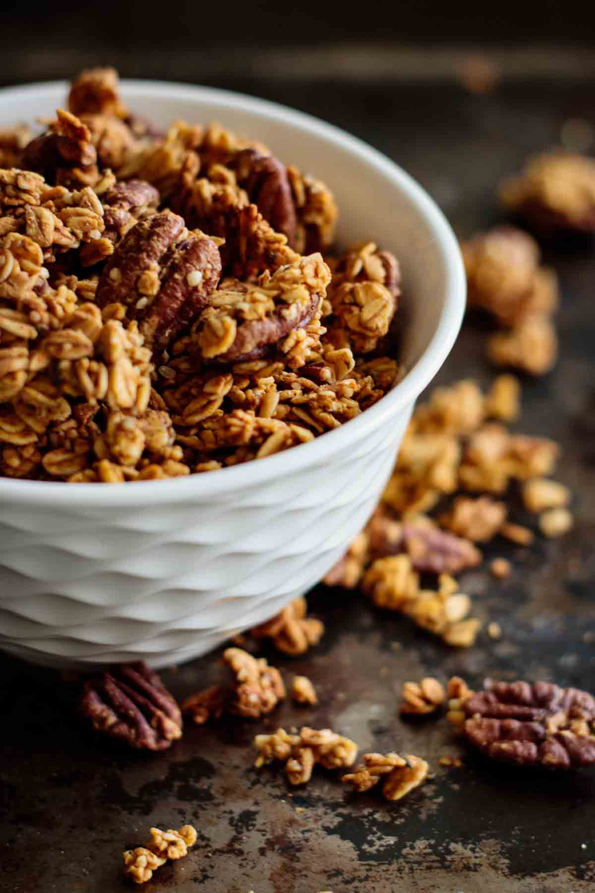 granola in a white bowl