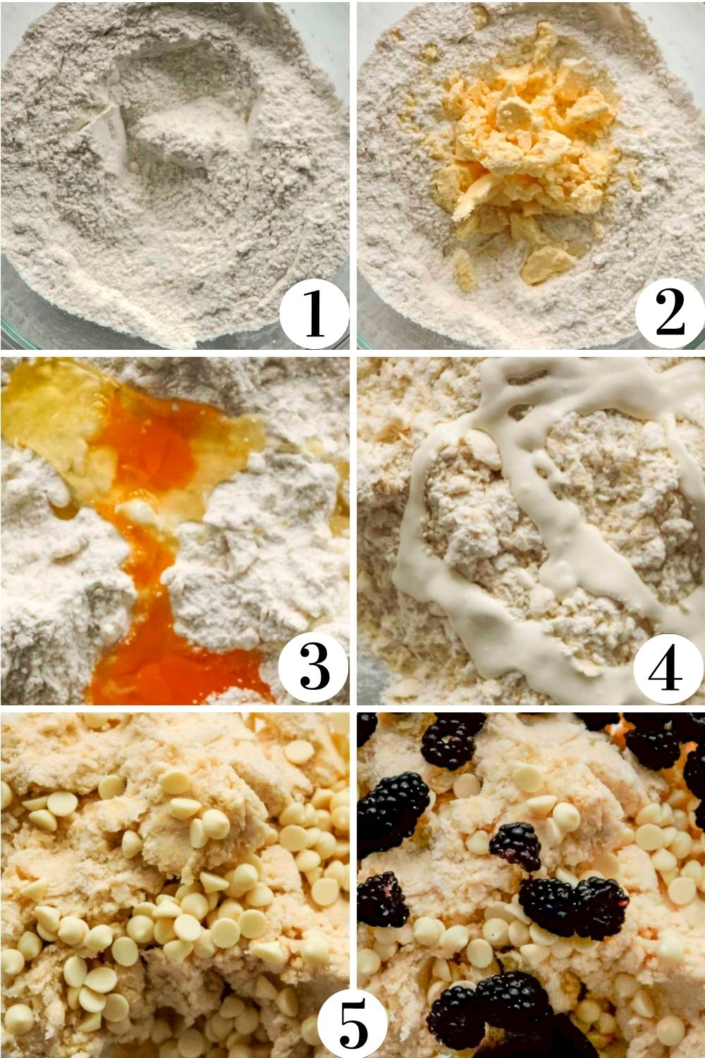 Step by step collage showing how to make scone dough.
