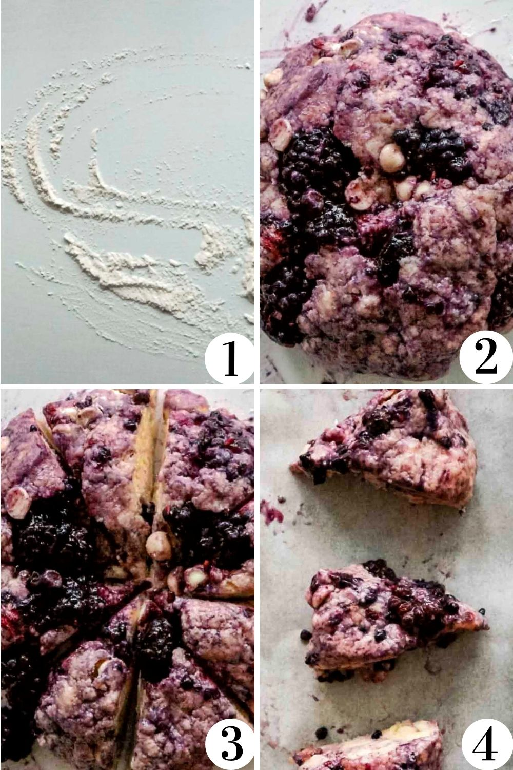 Step by step collage showing how to shape scones.