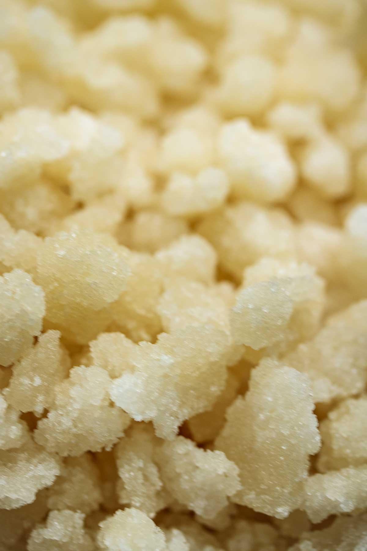Close up on Belgian sugar pearls.