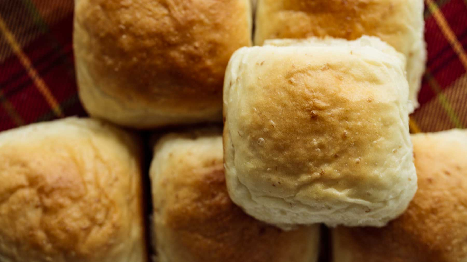 Dinner rolls seen from above, showing its soft crust.
