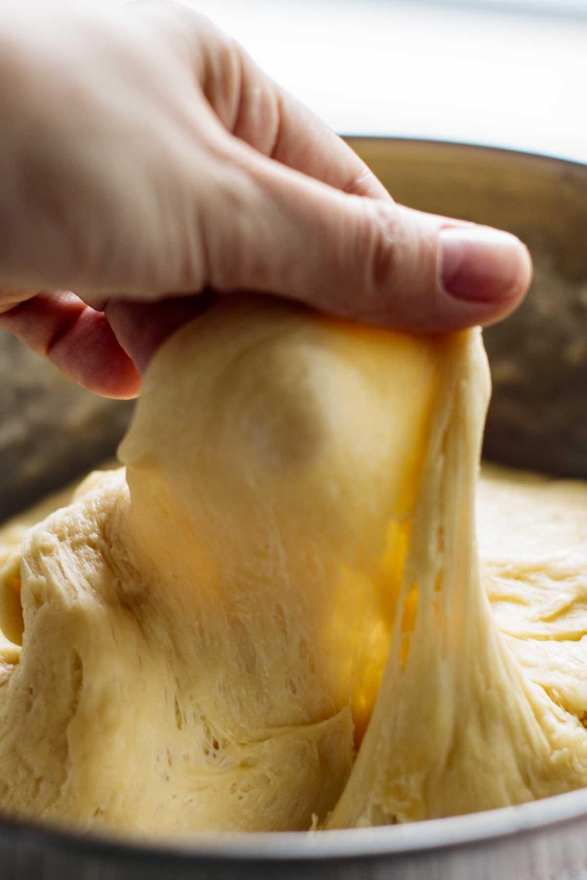 Good windowpane in dough.