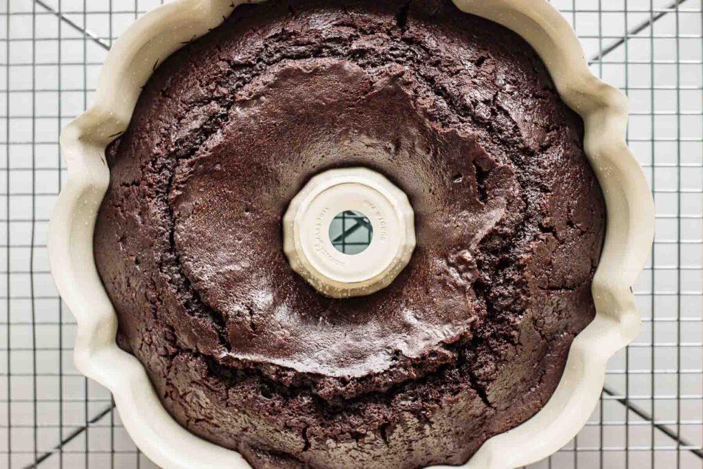 Baked chocolate bundt cake.