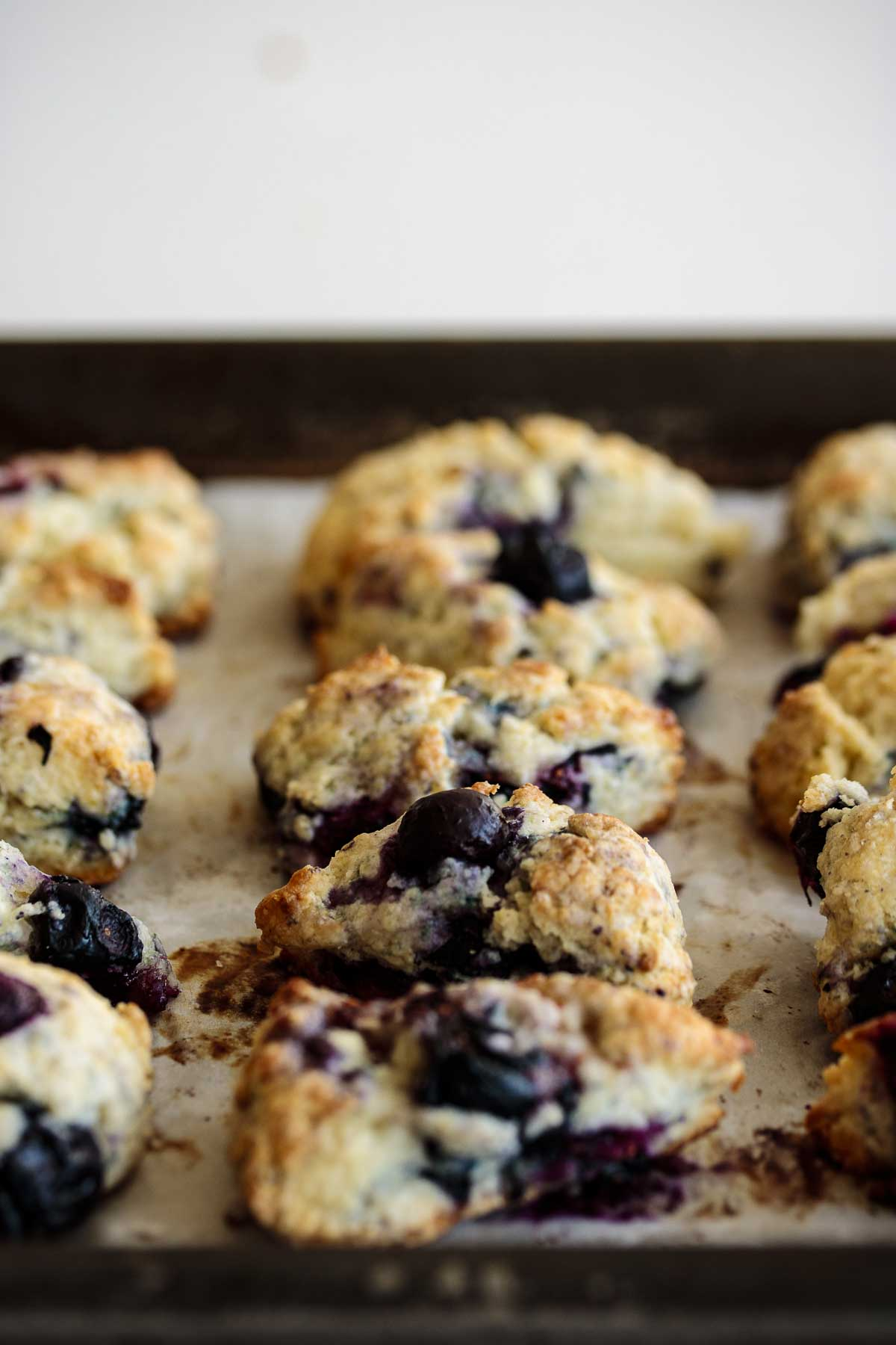Starbucks Blueberry Scones after baked, on a baking tray.