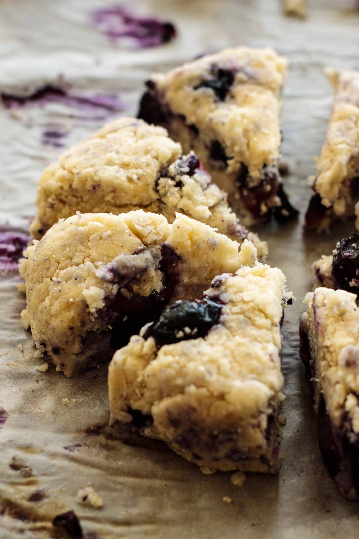 Shaped blueberry scones.