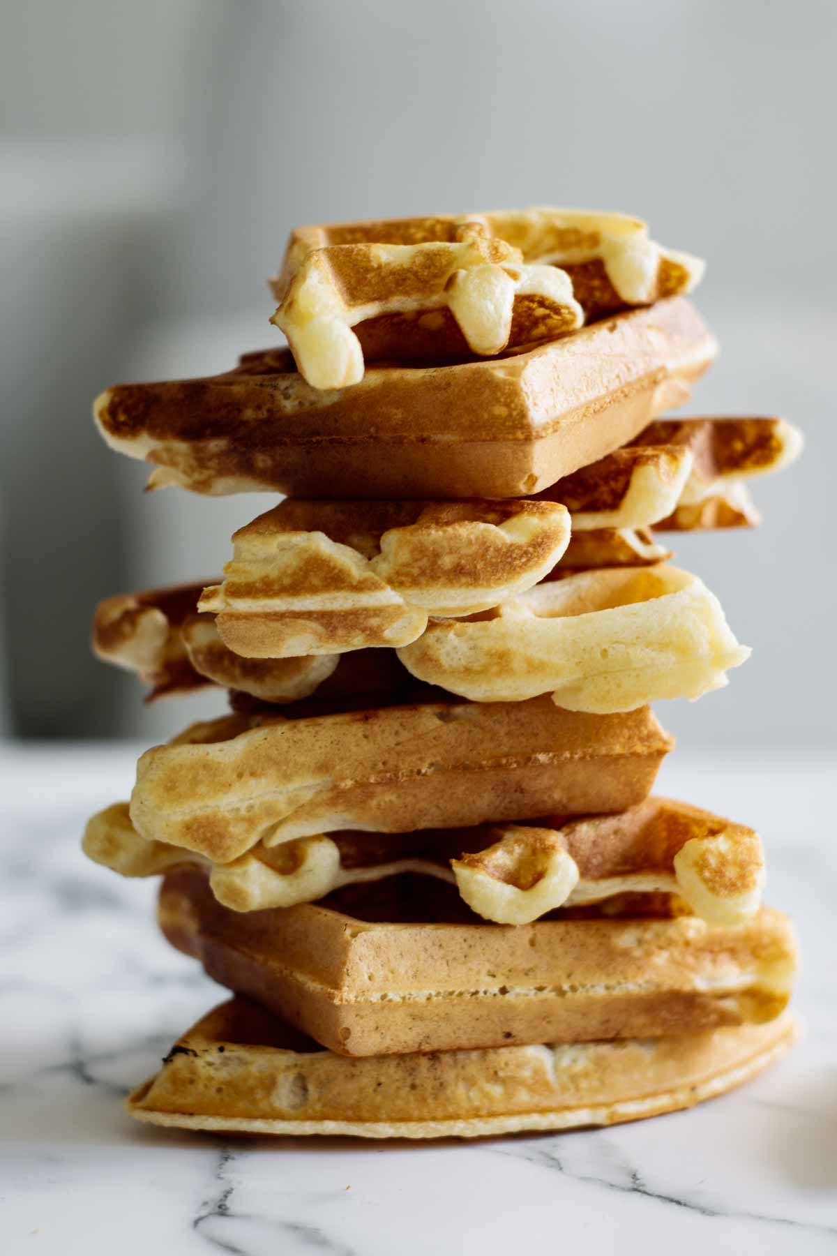 A stack of american waffles.