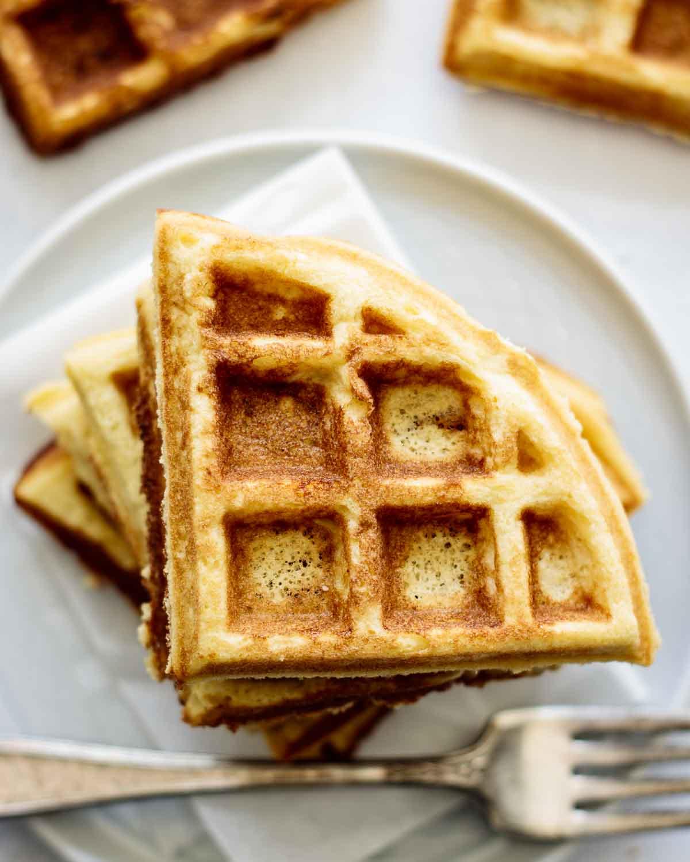 Close up on golden waffle.